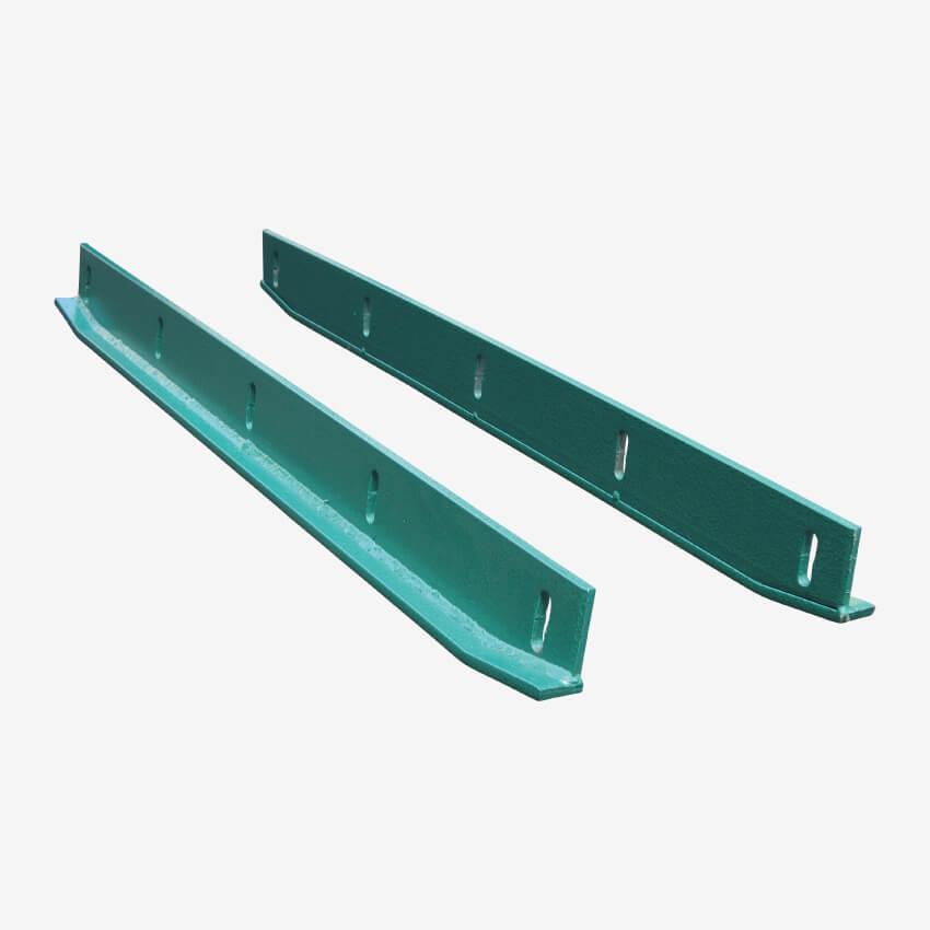 Jeu de patins métalliques réglables pour rabot à lisier
